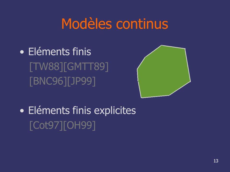 13 Modèles continus Eléments finis [TW88][GMTT89] [BNC96][JP99] Eléments finis explicites [Cot97][OH99]