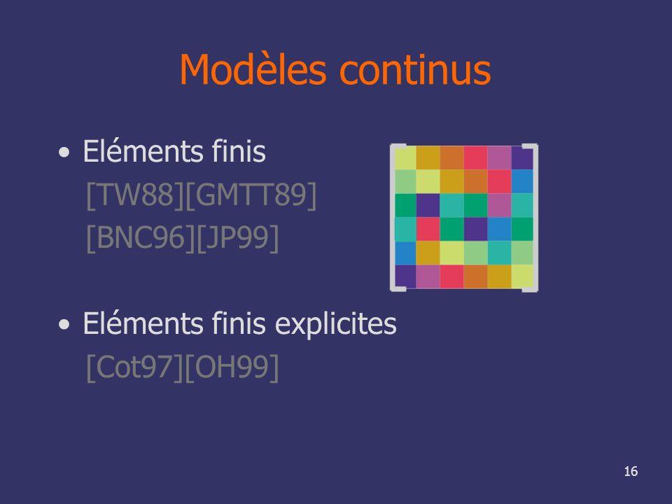 16 Modèles continus Eléments finis [TW88][GMTT89] [BNC96][JP99] Eléments finis explicites [Cot97][OH99]