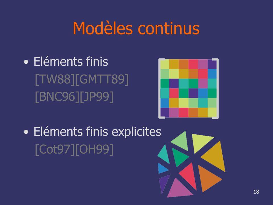18 Modèles continus Eléments finis [TW88][GMTT89] [BNC96][JP99] Eléments finis explicites [Cot97][OH99]