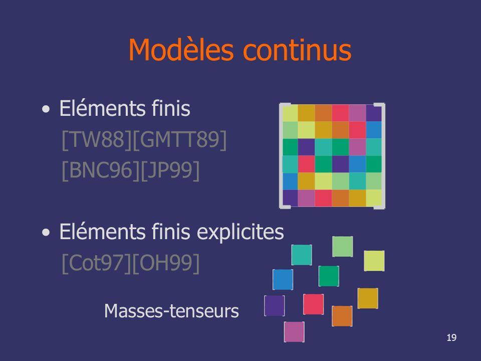 19 Modèles continus Masses-tenseurs Eléments finis [TW88][GMTT89] [BNC96][JP99] Eléments finis explicites [Cot97][OH99]