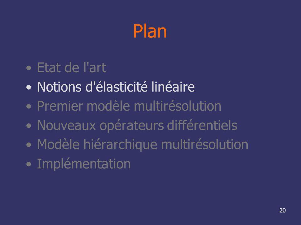 20 Plan Etat de l'art Notions d'élasticité linéaire Premier modèle multirésolution Nouveaux opérateurs différentiels Modèle hiérarchique multirésoluti