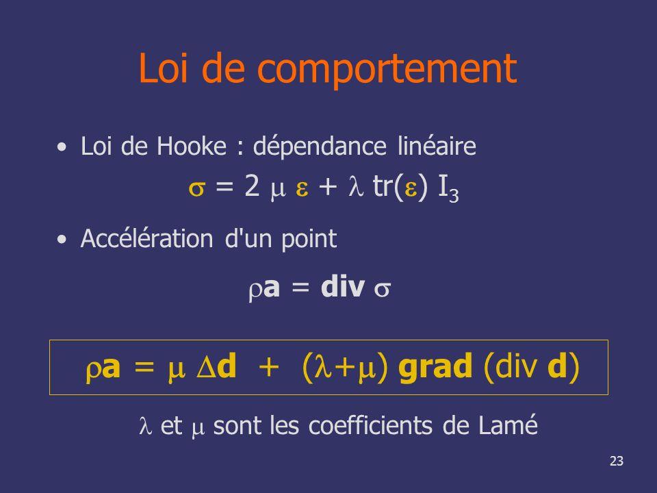 23 Loi de comportement Loi de Hooke : dépendance linéaire = 2 + tr( ) I 3 Accélération d'un point a = div et sont les coefficients de Lamé a = d + ( +