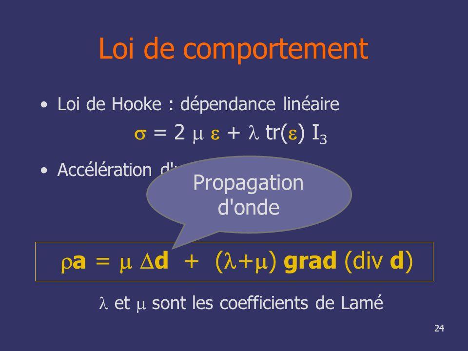 24 Loi de comportement Loi de Hooke : dépendance linéaire = 2 + tr( ) I 3 Accélération d'un point a = div et sont les coefficients de Lamé a = d + ( +