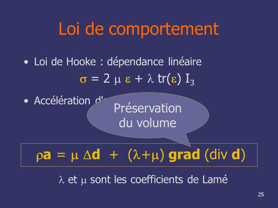 25 Loi de comportement Loi de Hooke : dépendance linéaire = 2 + tr( ) I 3 Accélération d'un point a = div et sont les coefficients de Lamé a = d + ( +