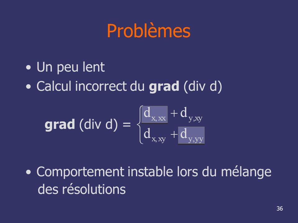 36 Problèmes Un peu lent Calcul incorrect du grad (div d) grad (div d) = Comportement instable lors du mélange des résolutions