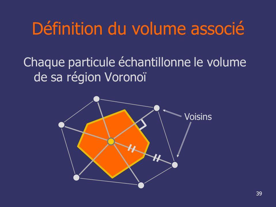 39 Définition du volume associé Chaque particule échantillonne le volume de sa région Voronoï Voisins