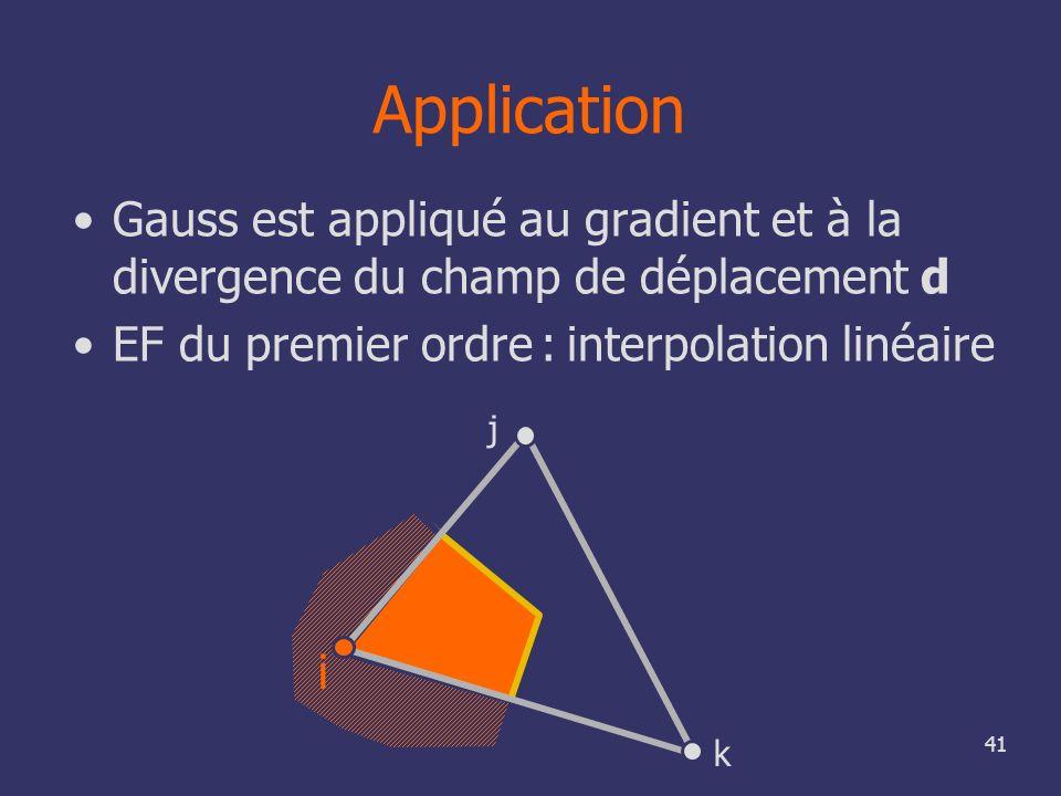 41 Application Gauss est appliqué au gradient et à la divergence du champ de déplacement d EF du premier ordre : interpolation linéaire i j k