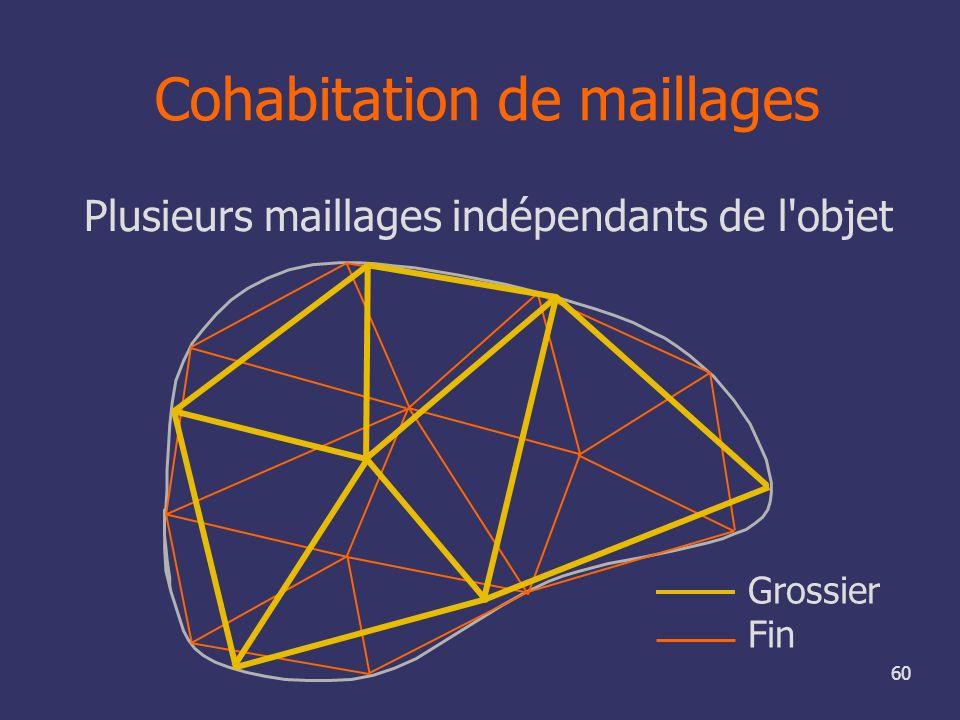 60 Cohabitation de maillages Plusieurs maillages indépendants de l'objet Grossier Fin