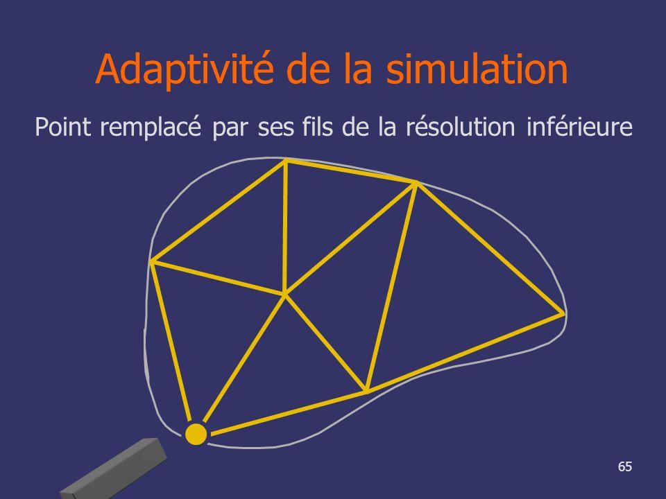 65 Adaptivité de la simulation Point remplacé par ses fils de la résolution inférieure