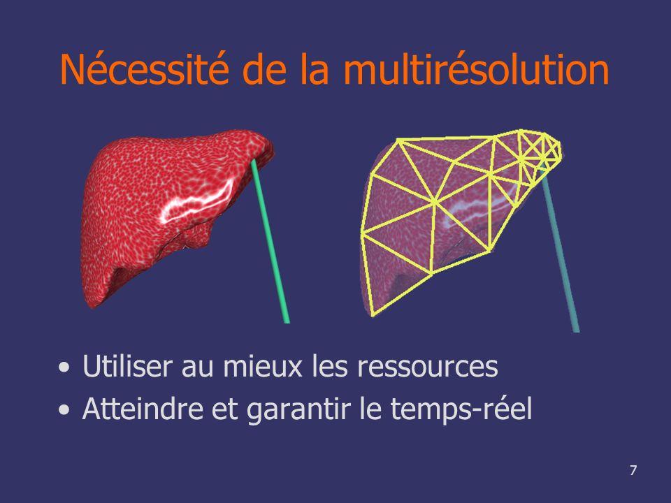 8 Objectifs de cette thèse Utilisation de la multirésolution Adaptation automatique et invisible Simulation réaliste temps-réel Modèle indépendant de la résolution