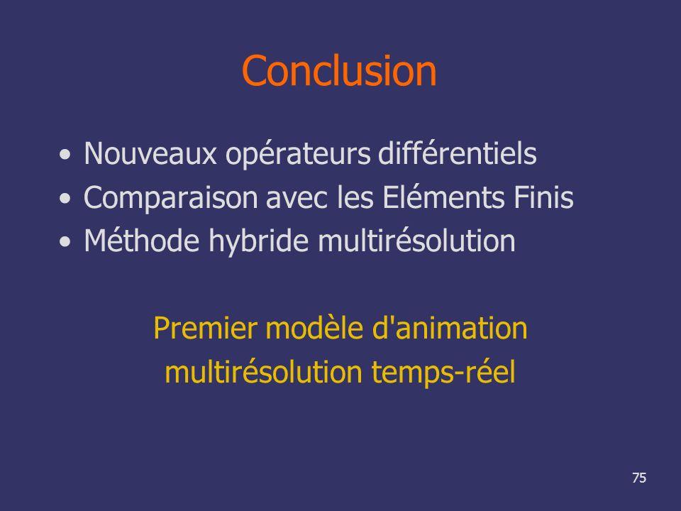 75 Conclusion Nouveaux opérateurs différentiels Comparaison avec les Eléments Finis Méthode hybride multirésolution Premier modèle d'animation multiré