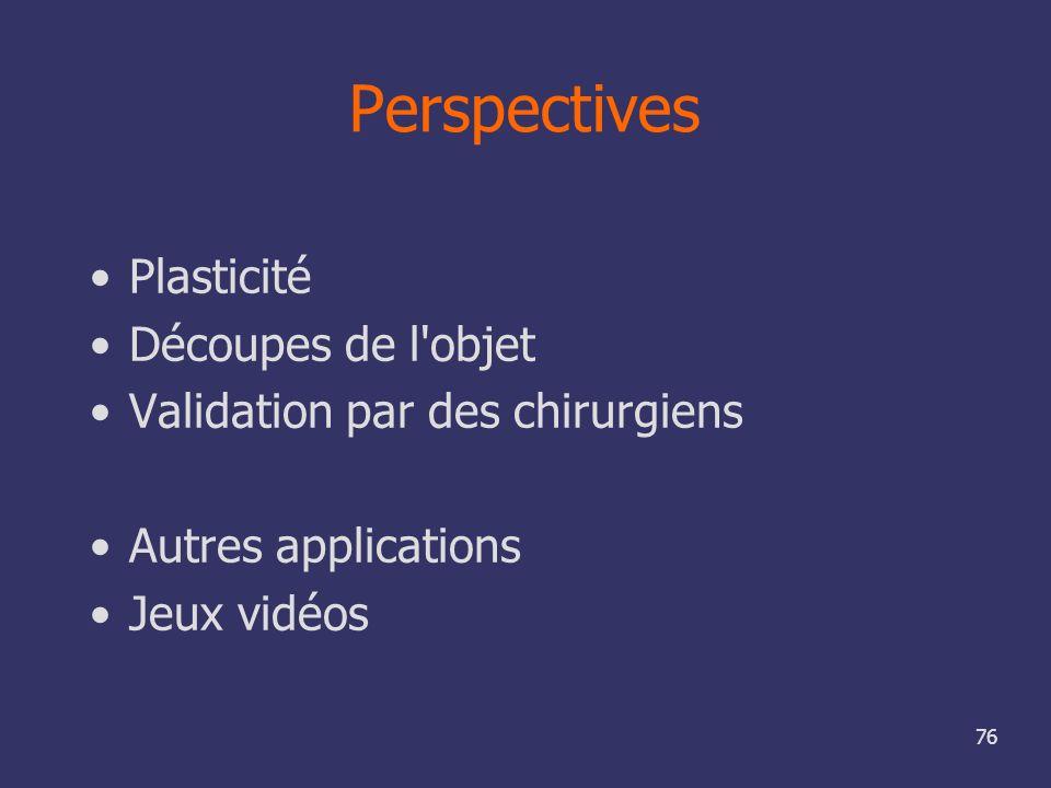 76 Perspectives Plasticité Découpes de l'objet Validation par des chirurgiens Autres applications Jeux vidéos