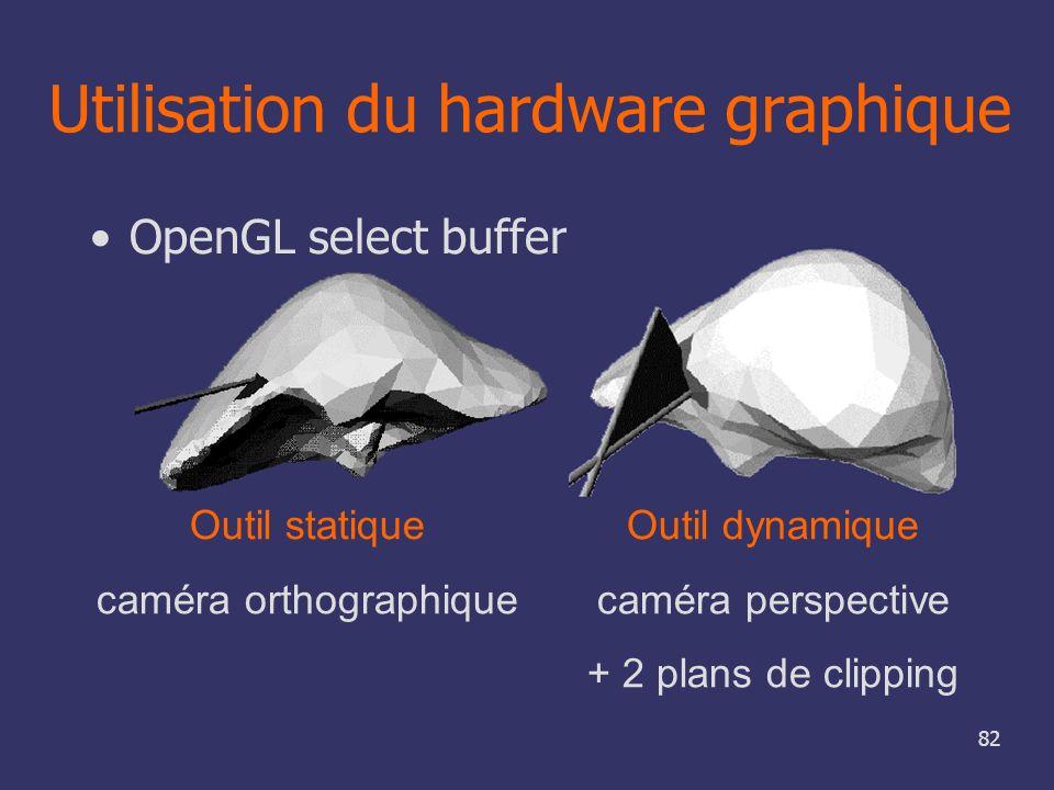 82 Utilisation du hardware graphique OpenGL select buffer Outil statique caméra orthographique Outil dynamique caméra perspective + 2 plans de clippin