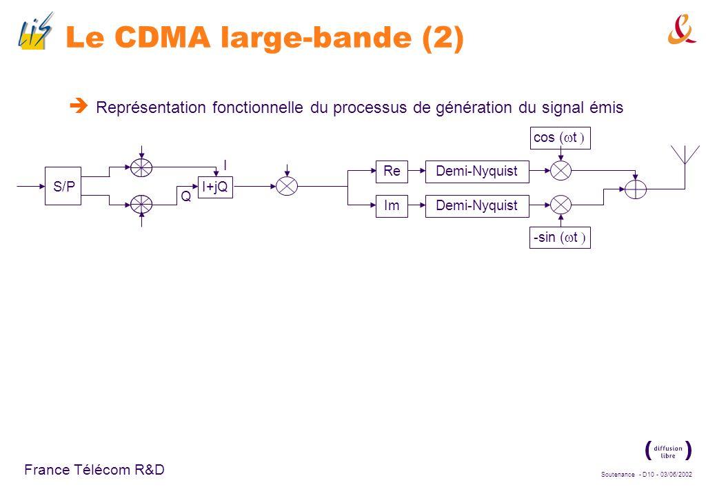 Soutenance - D9 - 03/06/2002 France Télécom R&D Le CDMA large-bande (1) Les deux modes de lUMTS : UMTS-FDD : large couverture, débits moyens même en c