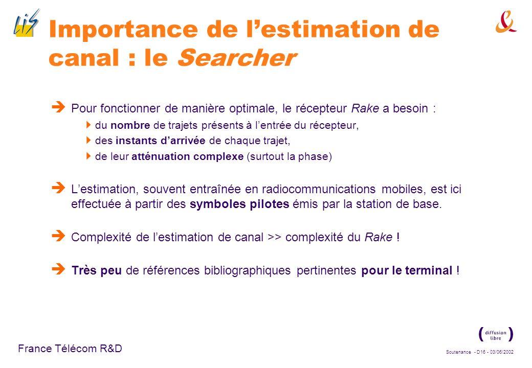 Soutenance - D15 - 03/06/2002 France Télécom R&D Dispositif de réception classique en CDMA Dispositif classique : le récepteur Rake, ou récepteur « en