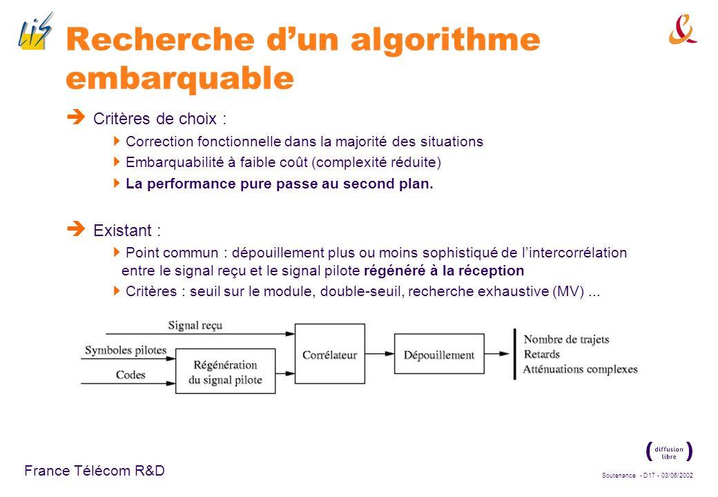 Soutenance - D16 - 03/06/2002 France Télécom R&D Importance de lestimation de canal : le Searcher Pour fonctionner de manière optimale, le récepteur R