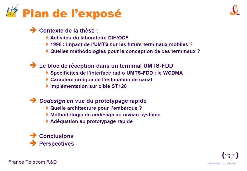 Soutenance - D12 - 03/06/2002 France Télécom R&D Le CDMA large-bande (2) Représentation fonctionnelle du processus de génération du signal émis Codes utilisés : Etalement : codes OVSF Séquences binaires de Walsh-Hadamard, Orthogonalité des transmissions, même en cas de débits différents Embrouillage : codes de Gold complexes, Sommes logiques de séquences de longueur maximale Atténuation de linterférence inter-cellule sur le lien descendant S/P I Q I+jQ Demi-Nyquist Re Im -sin ( t cos ( t Etalement Embrouillage