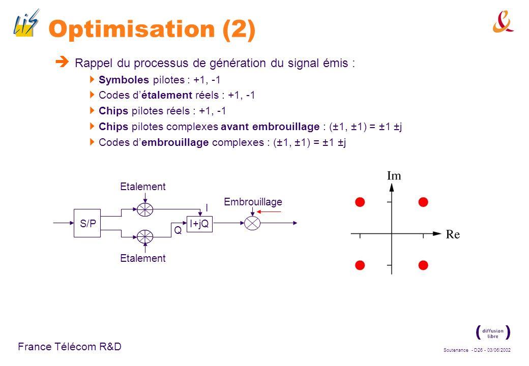 Soutenance - D25 - 03/06/2002 France Télécom R&D Optimisation (2) Rappel du processus de génération du signal émis : Symboles pilotes : +1, -1 Codes d