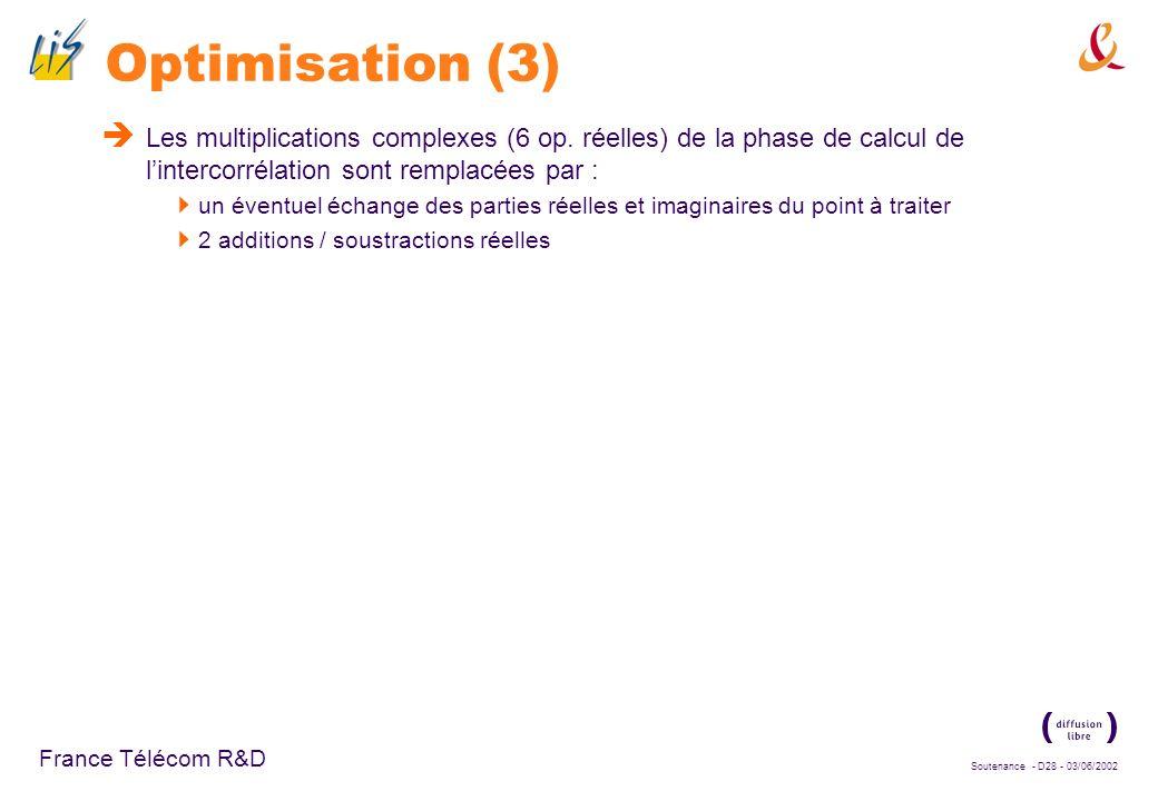 Soutenance - D27 - 03/06/2002 France Télécom R&D Optimisation (2) Rappel du processus de génération du signal émis : Symboles pilotes : +1, -1 Codes d