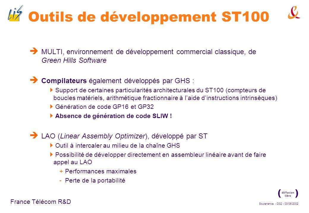 Soutenance - D31 - 03/06/2002 France Télécom R&D Implémentation sur DSP Cible : DSP-MCU dual-MAC ST120, de la famille ST100, visant le marché des télé