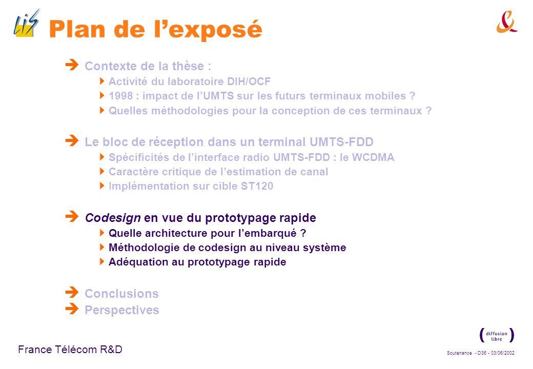 Soutenance - D35 - 03/06/2002 France Télécom R&D Bilan Complexité majoritaire : calcul de lintercorrélation, même optimisé au niveau algorithmique (ca