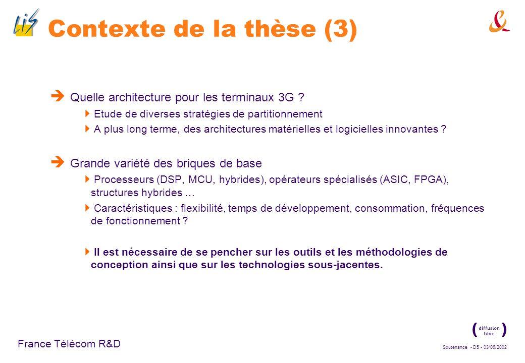 Soutenance - D35 - 03/06/2002 France Télécom R&D Bilan Complexité majoritaire : calcul de lintercorrélation, même optimisé au niveau algorithmique (calcul au rythme chip) au niveau implémentation (parallélisation du calcul) Limplémentation du calcul au rythme chip sous la forme daccumulations de produits 16 bits x 1 bit nest pas optimale en termes dutilisation du DSP.