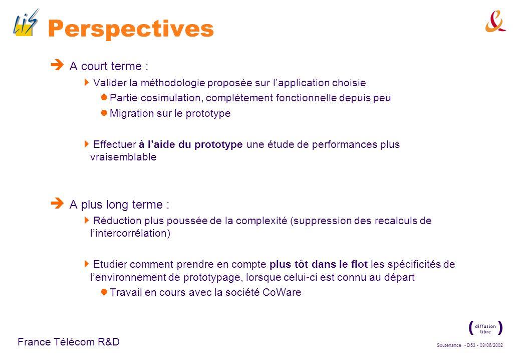 Soutenance - D52 - 03/06/2002 France Télécom R&D Conclusions méthodologiques Proposition dune méthodologie de conception Méthodologie permettant lexpl