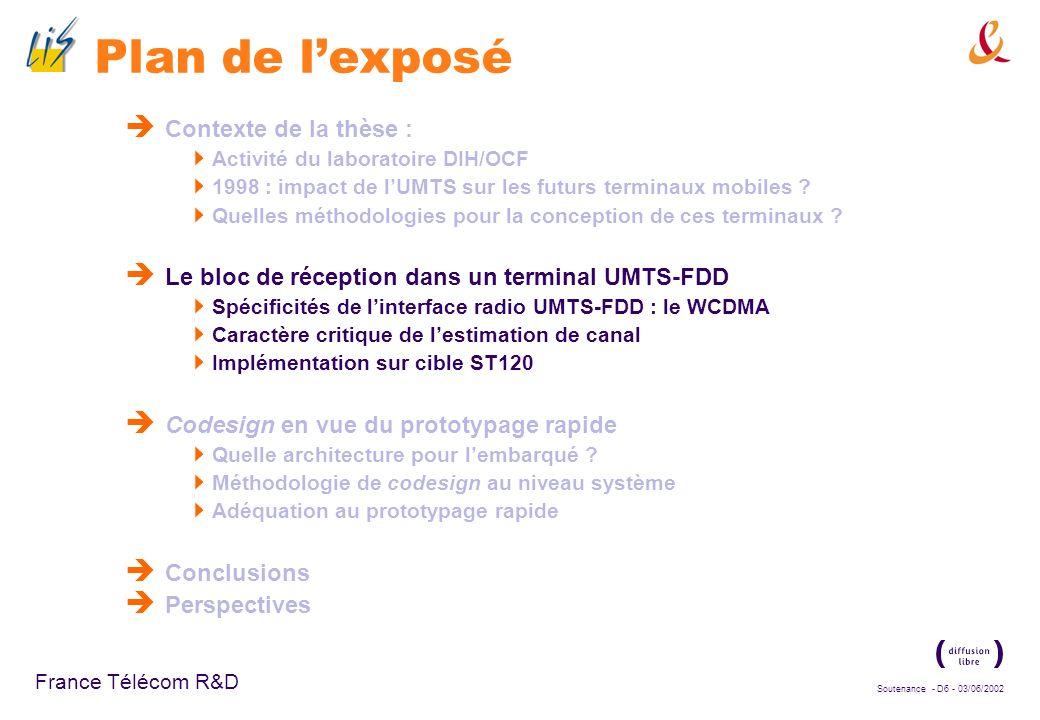Soutenance - D26 - 03/06/2002 France Télécom R&D Optimisation (2) Rappel du processus de génération du signal émis : Symboles pilotes : +1, -1 Codes détalement réels : +1, -1 Chips pilotes réels : +1, -1 Chips pilotes complexes avant embrouillage : (±1, ±1) = ±1 ±j Codes dembrouillage complexes : (±1, ±1) = ±1 ±j S/P Etalement I Q I+jQ Embrouillage