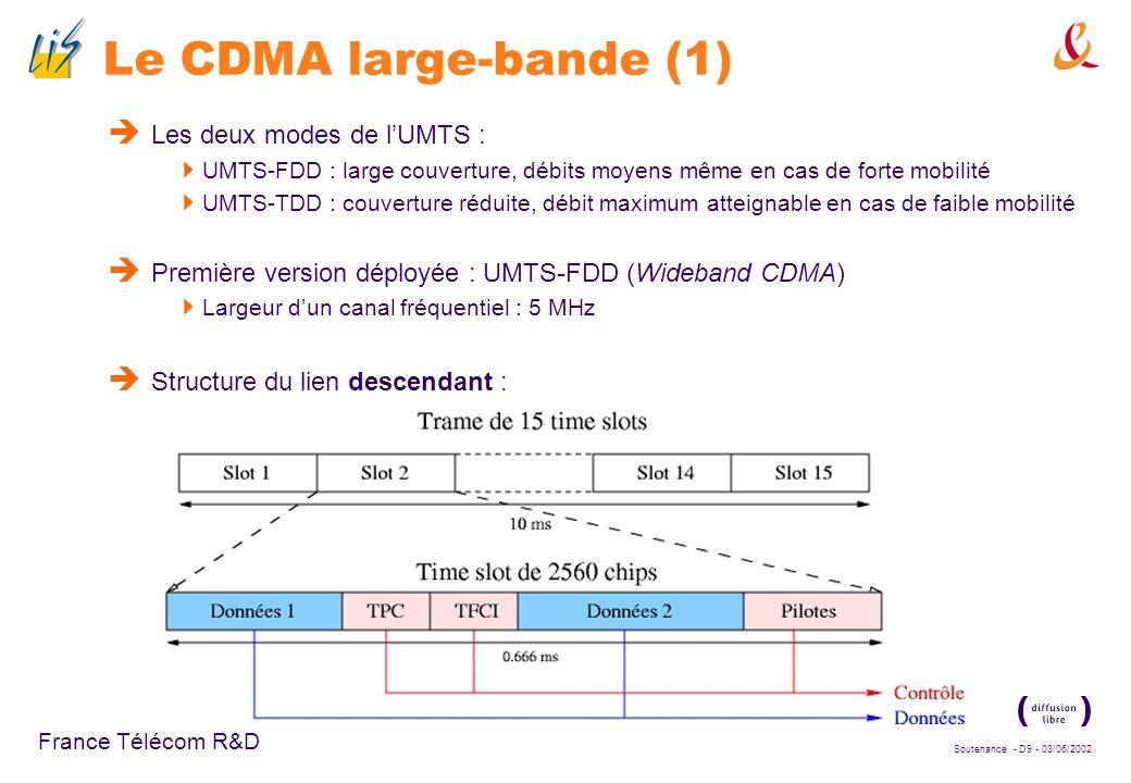 Soutenance - D9 - 03/06/2002 France Télécom R&D Le CDMA large-bande (1) Les deux modes de lUMTS : UMTS-FDD : large couverture, débits moyens même en cas de forte mobilité UMTS-TDD : couverture réduite, débit maximum atteignable en cas de faible mobilité Première version déployée : UMTS-FDD (Wideband CDMA) Largeur dun canal fréquentiel : 5 MHz Structure du lien descendant :