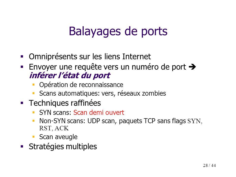 28 / 44 Balayages de ports Omniprésents sur les liens Internet Envoyer une requête vers un numéro de port inférer létat du port Opération de reconnais