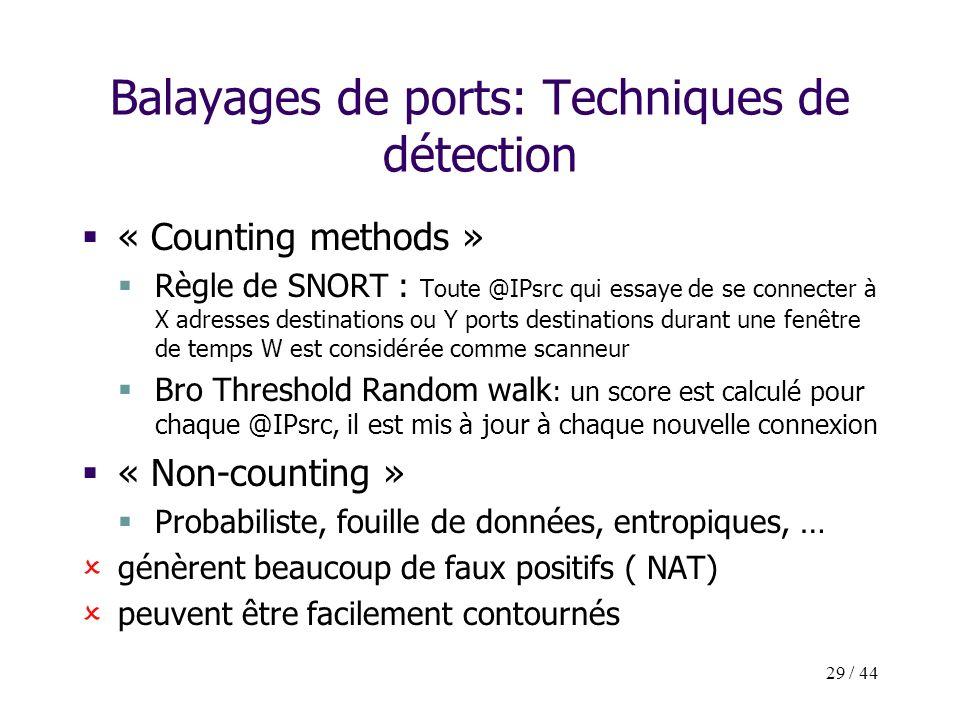 29 / 44 Balayages de ports: Techniques de détection « Counting methods » Règle de SNORT : Toute @IPsrc qui essaye de se connecter à X adresses destina
