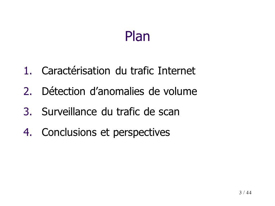 3 / 44 Plan 1.Caractérisation du trafic Internet 2.Détection danomalies de volume 3.Surveillance du trafic de scan 4.Conclusions et perspectives