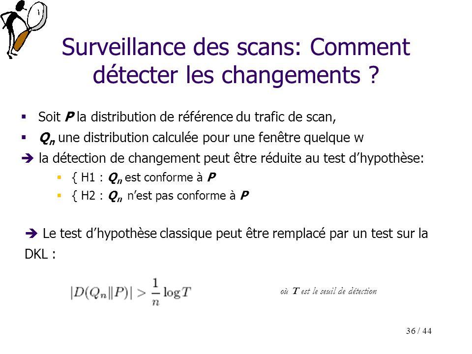36 / 44 Soit P la distribution de référence du trafic de scan, Q n une distribution calculée pour une fenêtre quelque w la détection de changement peu