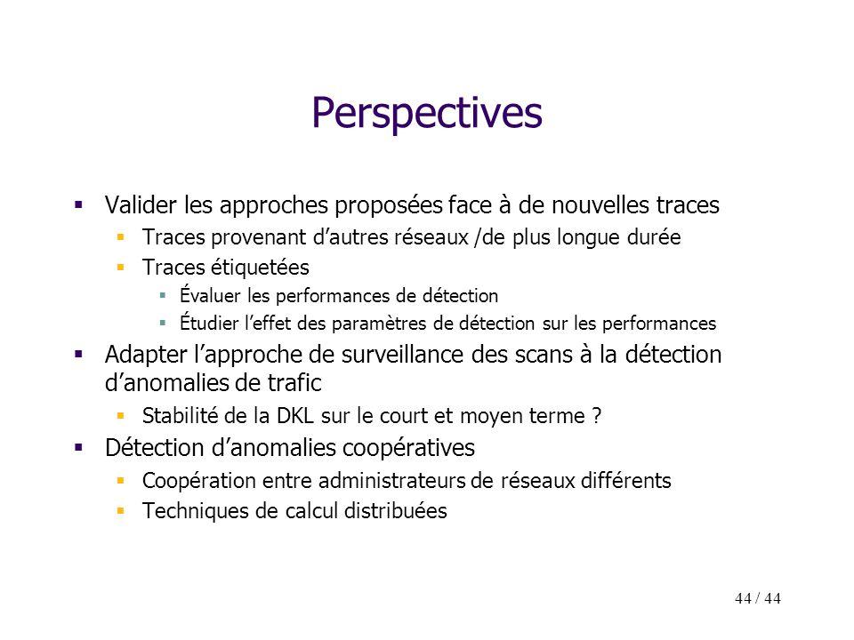 44 / 44 Perspectives Valider les approches proposées face à de nouvelles traces Traces provenant dautres réseaux /de plus longue durée Traces étiqueté