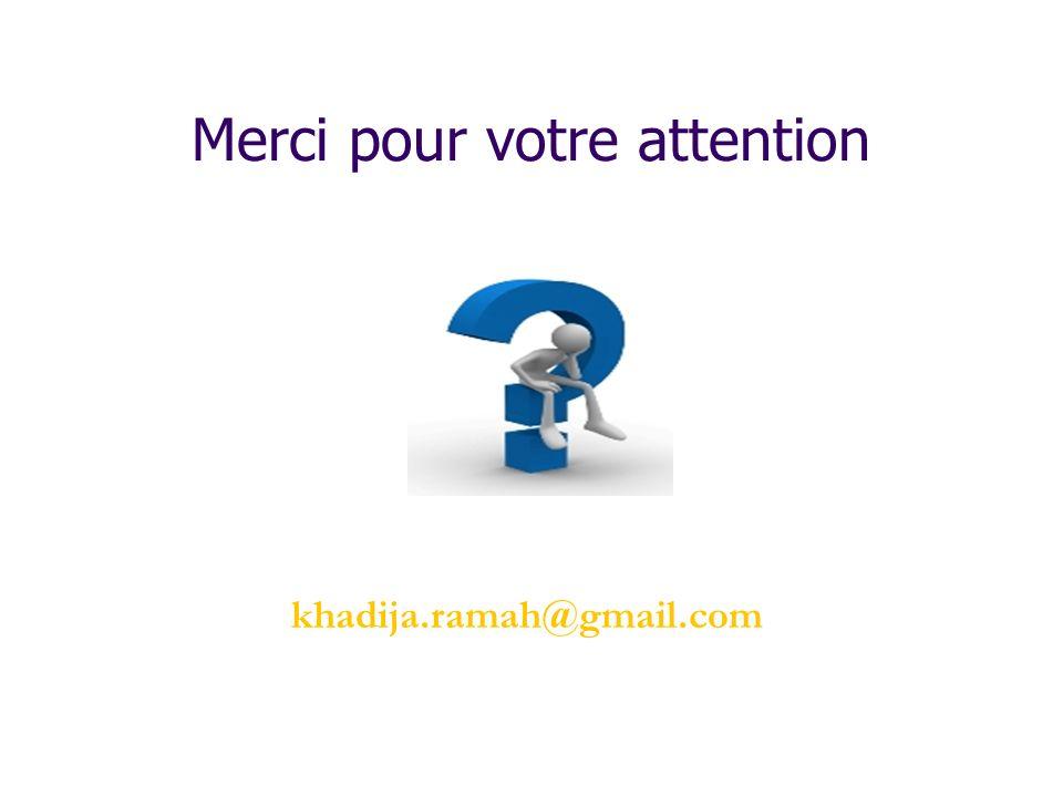 Merci pour votre attention khadija.ramah@gmail.com
