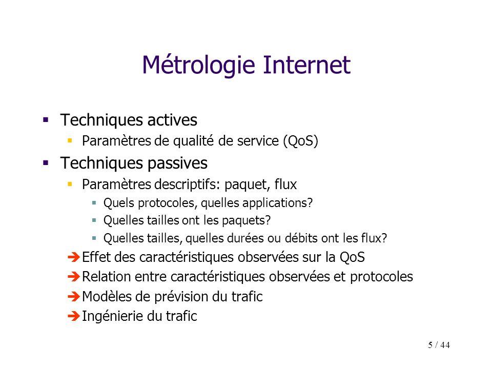 5 / 44 Métrologie Internet Techniques actives Paramètres de qualité de service (QoS) Techniques passives Paramètres descriptifs: paquet, flux Quels pr