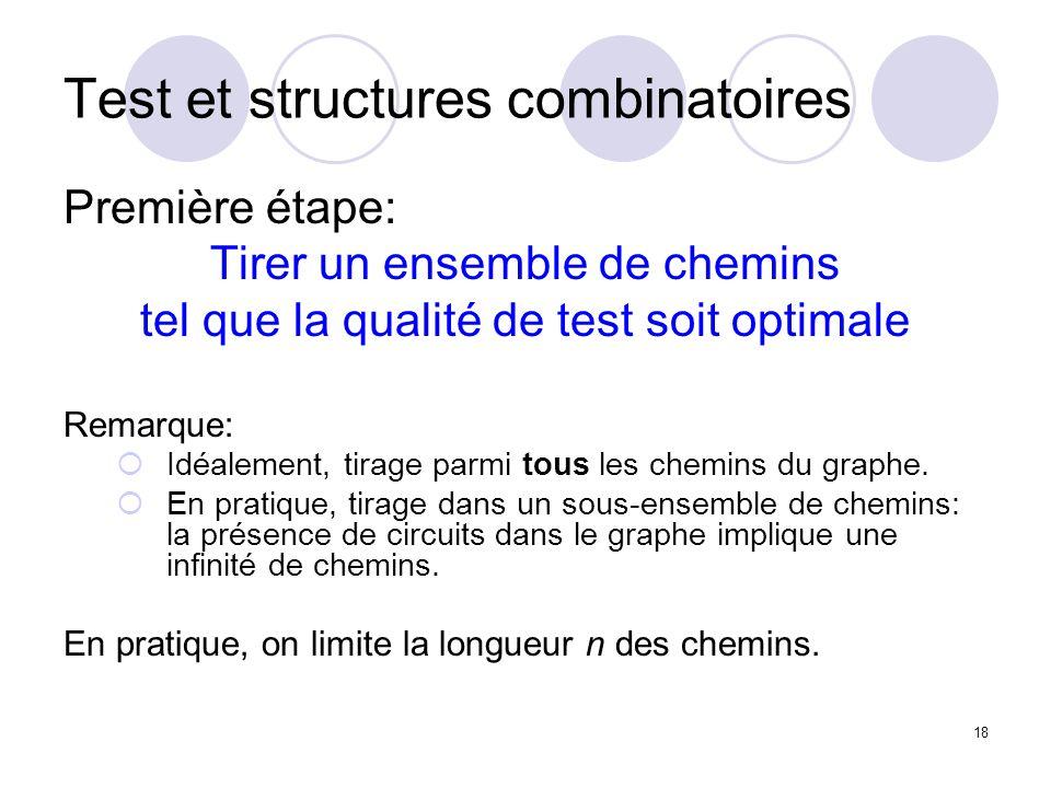 18 Test et structures combinatoires Première étape: Tirer un ensemble de chemins tel que la qualité de test soit optimale Remarque: Idéalement, tirage parmi tous les chemins du graphe.
