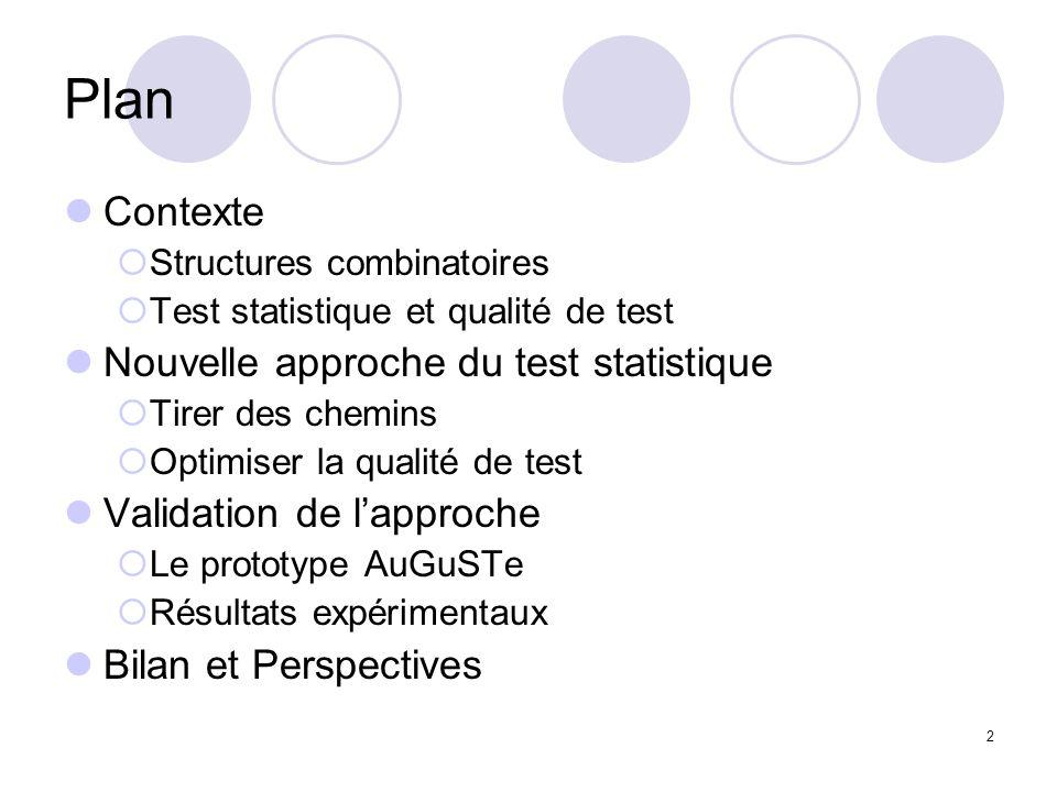 2 Plan Contexte Structures combinatoires Test statistique et qualité de test Nouvelle approche du test statistique Tirer des chemins Optimiser la qualité de test Validation de lapproche Le prototype AuGuSTe Résultats expérimentaux Bilan et Perspectives