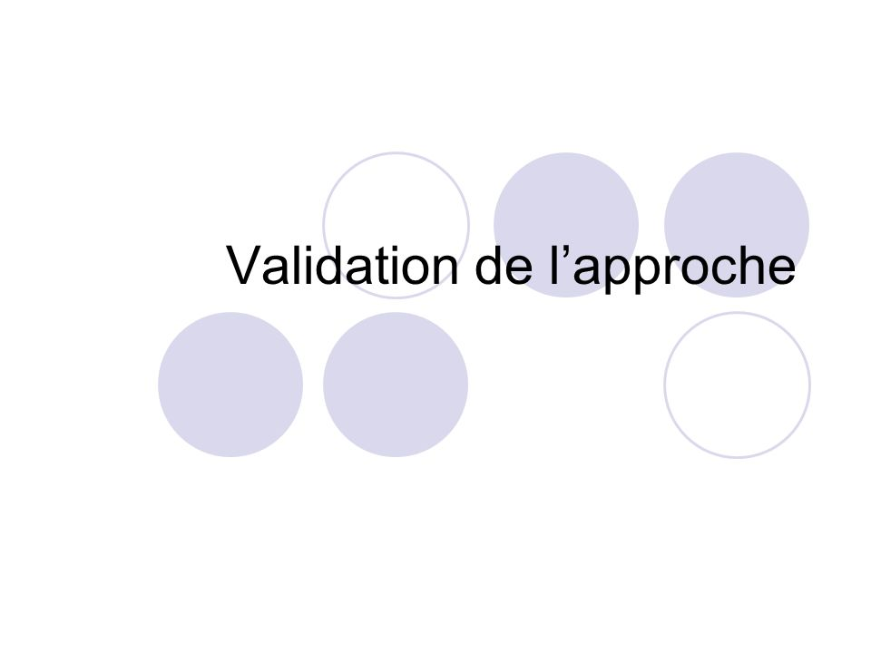 Validation de lapproche