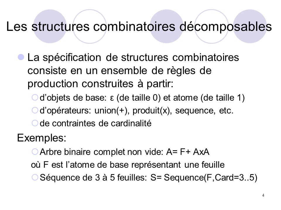 4 Les structures combinatoires décomposables La spécification de structures combinatoires consiste en un ensemble de règles de production construites