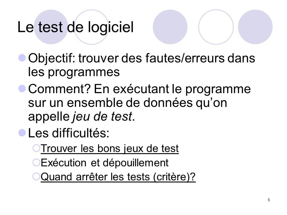 6 Le test de logiciel Objectif: trouver des fautes/erreurs dans les programmes Comment.