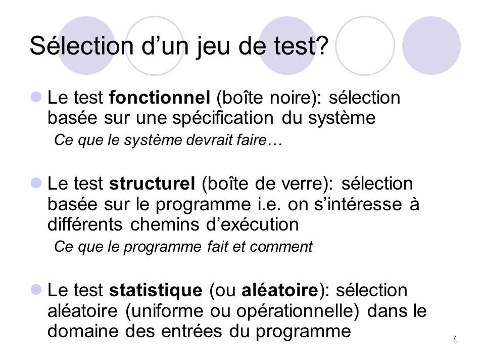 7 Sélection dun jeu de test.