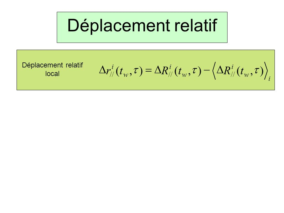 Déplacement relatif i w i w i w i tRtRtr),(),(),( // Déplacement relatif local