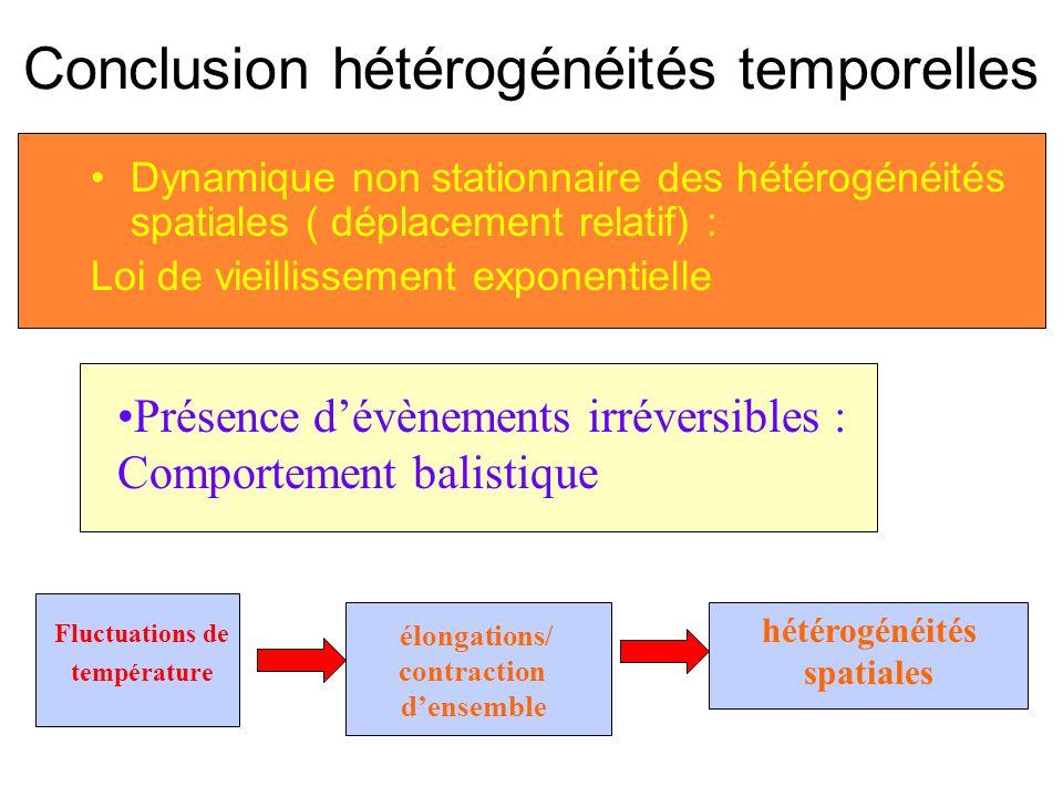 Conclusion hétérogénéités temporelles Dynamique non stationnaire des hétérogénéités spatiales ( déplacement relatif) : Loi de vieillissement exponenti