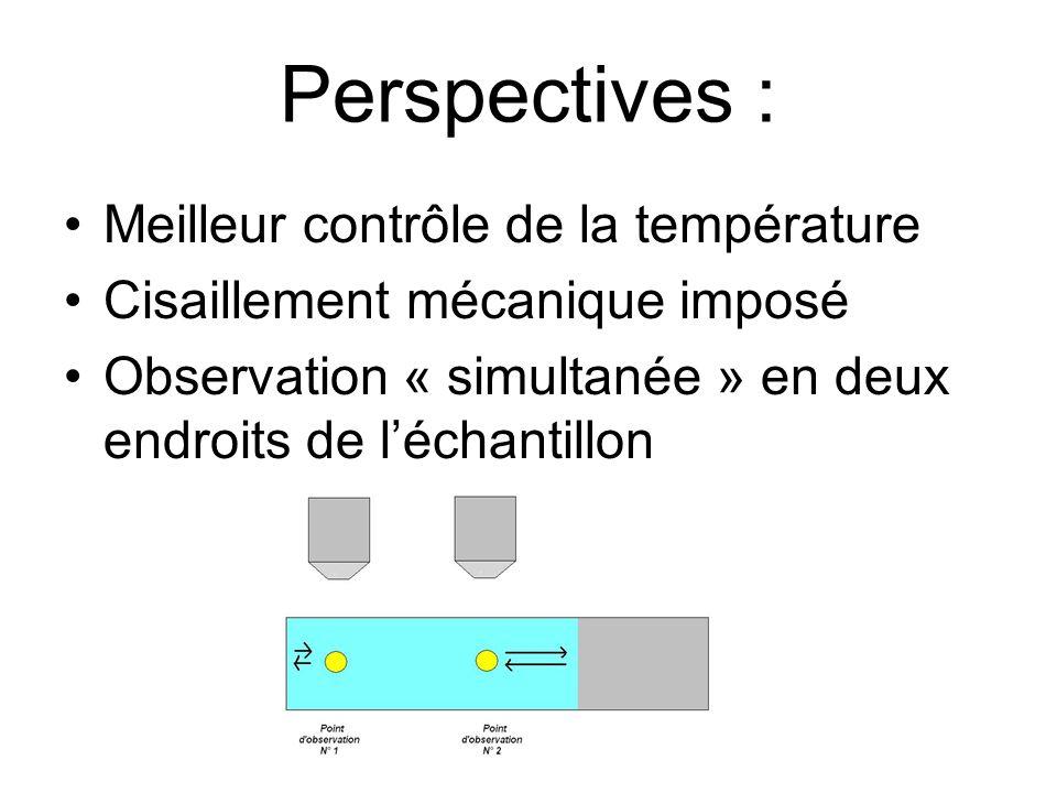 Perspectives : Meilleur contrôle de la température Cisaillement mécanique imposé Observation « simultanée » en deux endroits de léchantillon