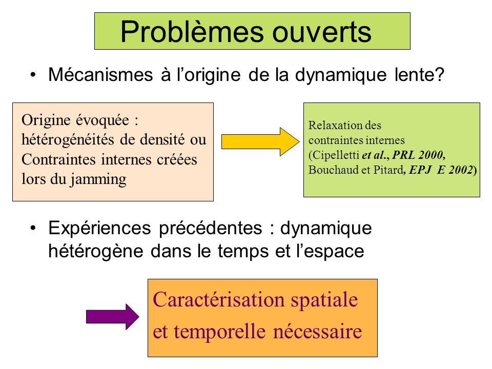 Mécanismes à lorigine de la dynamique lente? Expériences précédentes : dynamique hétérogène dans le temps et lespace Problèmes ouverts Caractérisation