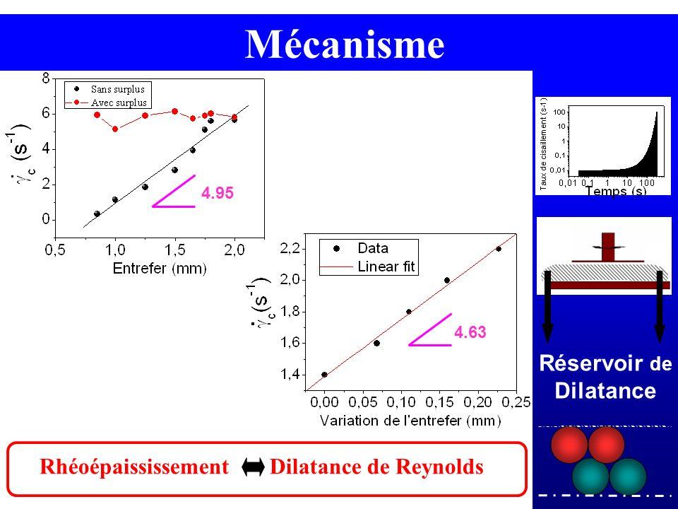 Protocole - Géométrie Rhéoépaississement Dilatance de Reynolds Réservoir de Dilatance Mécanisme 4.95 4.63