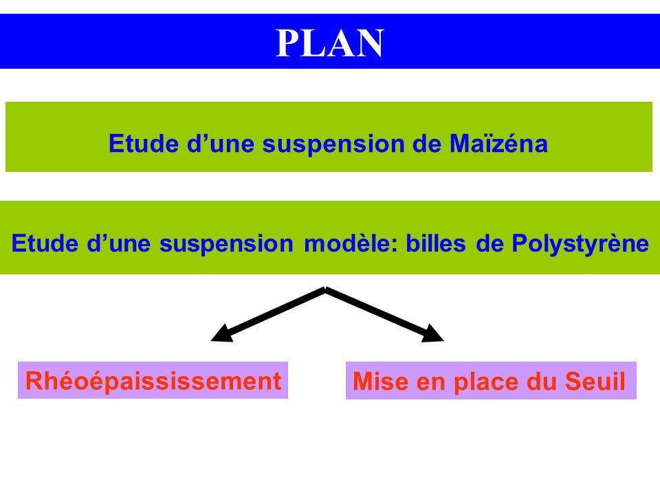 PLAN Etude dune suspension de Maïzéna Etude dune suspension modèle: billes de Polystyrène Rhéoépaississement Mise en place du Seuil