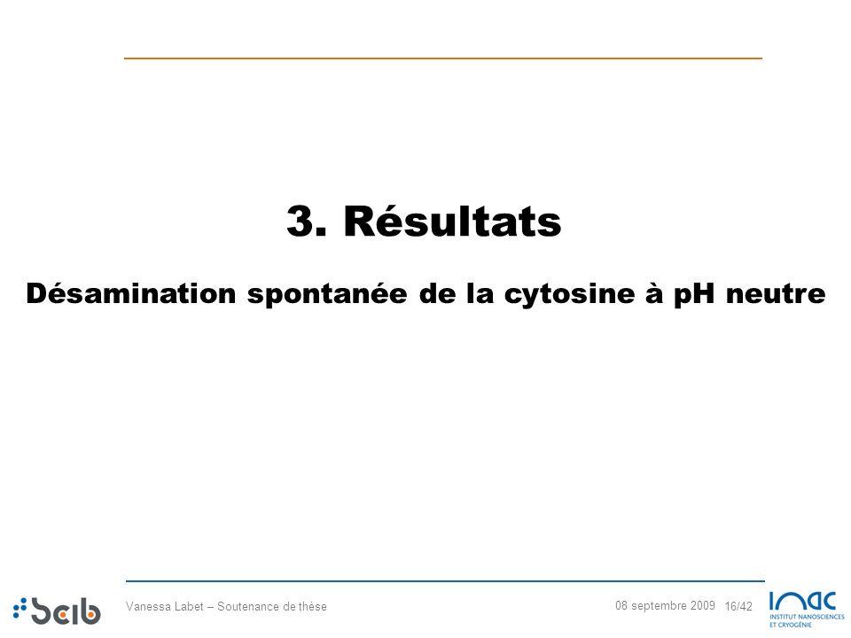 Vanessa Labet – Soutenance de thèse 16/42 08 septembre 2009 3. Résultats Désamination spontanée de la cytosine à pH neutre