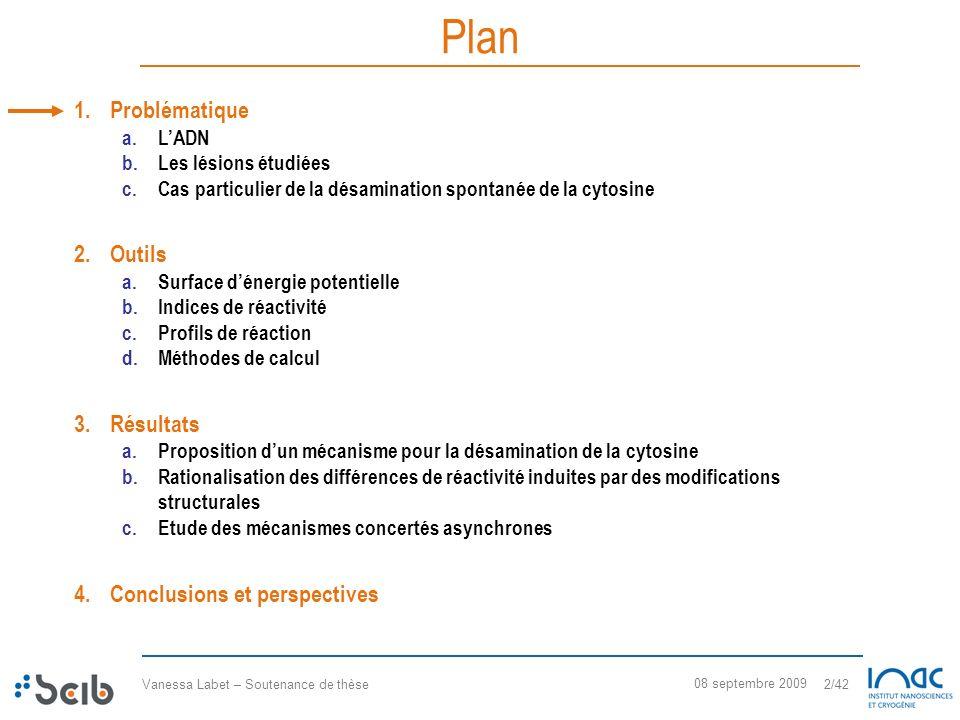 Vanessa Labet – Soutenance de thèse 2/42 08 septembre 2009 Plan 1.Problématique a.LADN b.Les lésions étudiées c.Cas particulier de la désamination spo